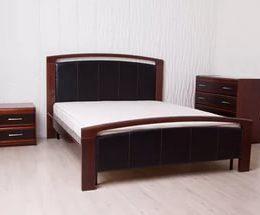 Кровать Цезарь с кожанной отделкой